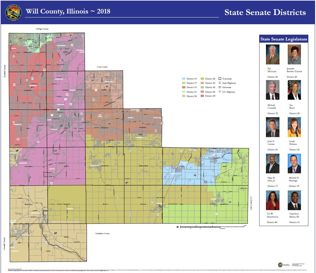 Will County Illinois State Senate All Districts 42 x 48