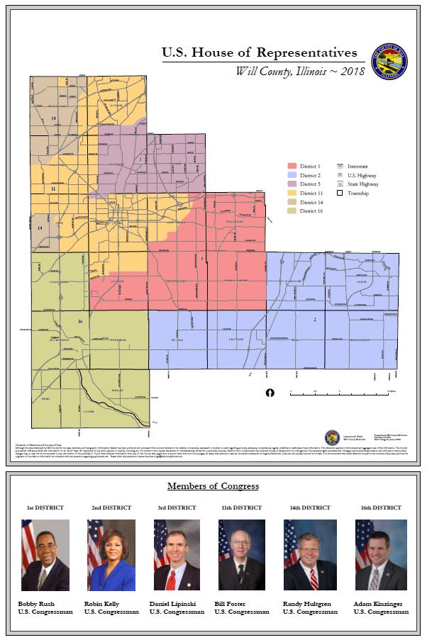 Will County Illinois House of Representatives Congressional Districts24 x 36