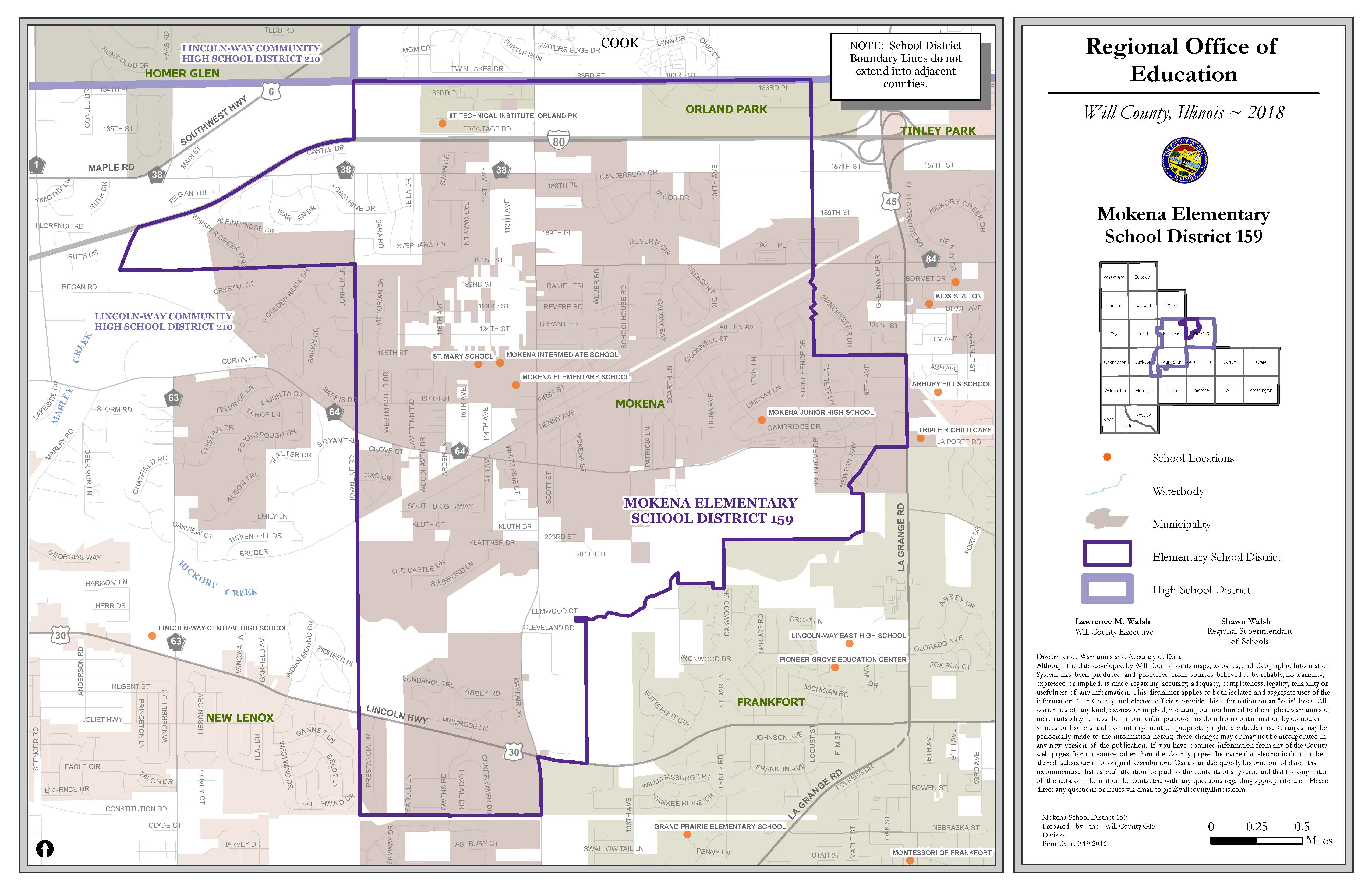 Mokena School Districts map