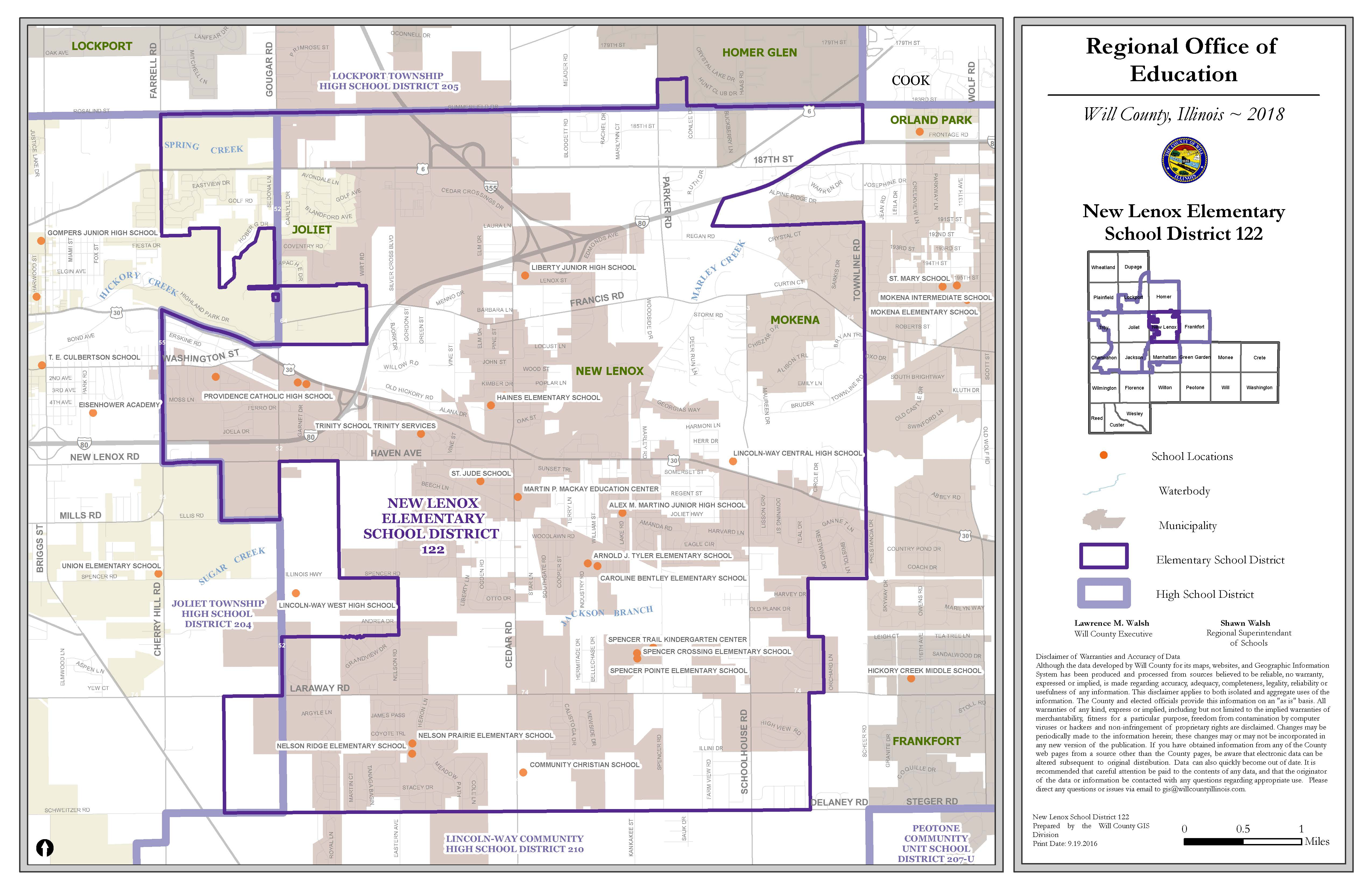 New Lenox School Districts map