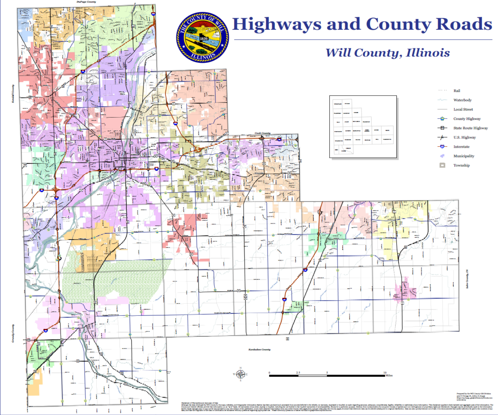 Will County Illinois Highways & County Roads map