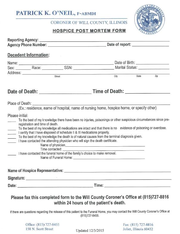 Hospice post mortem form