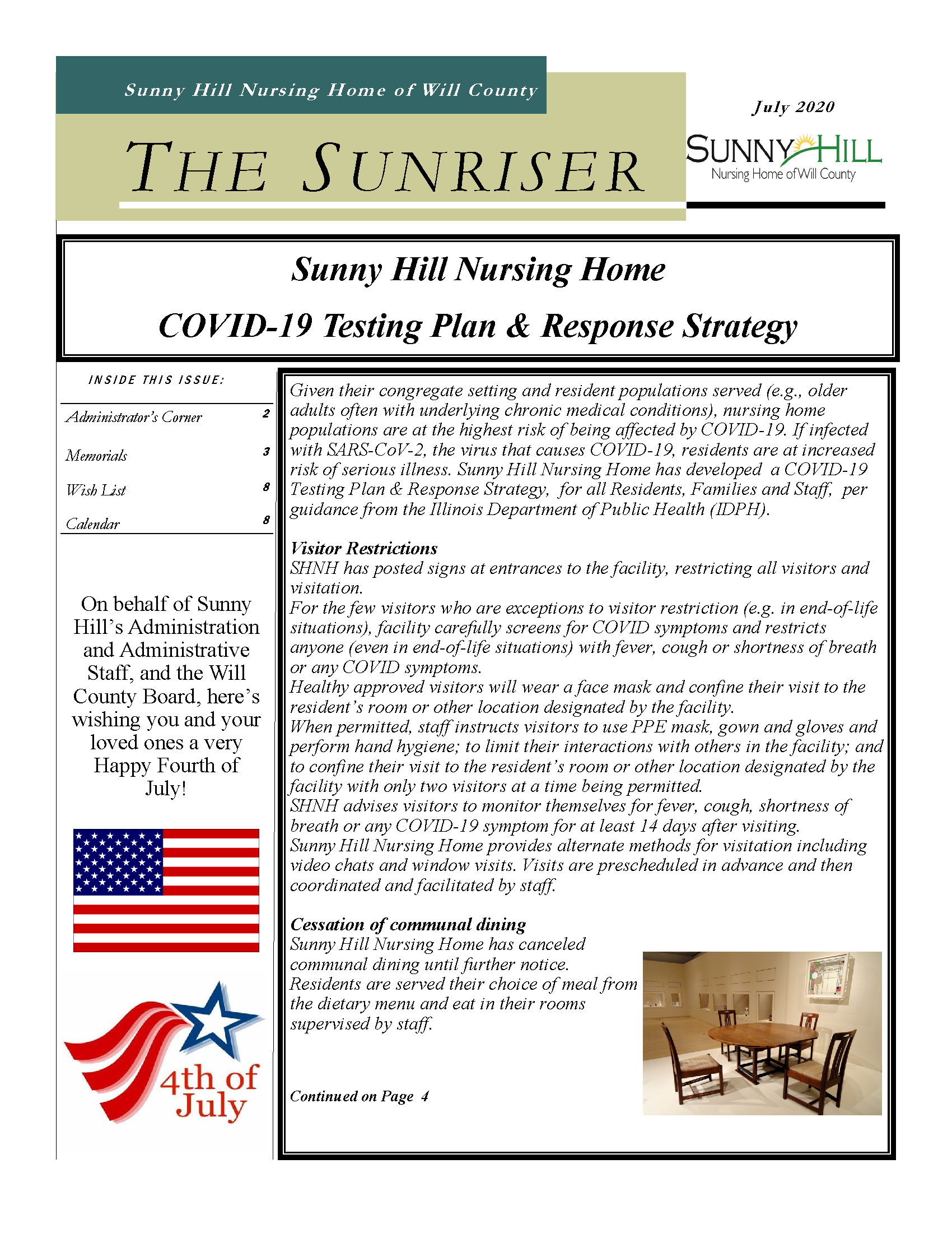July 2020 Sunriser Cover Page
