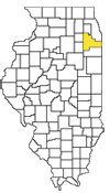 State of IL Counties map highlighting Will County