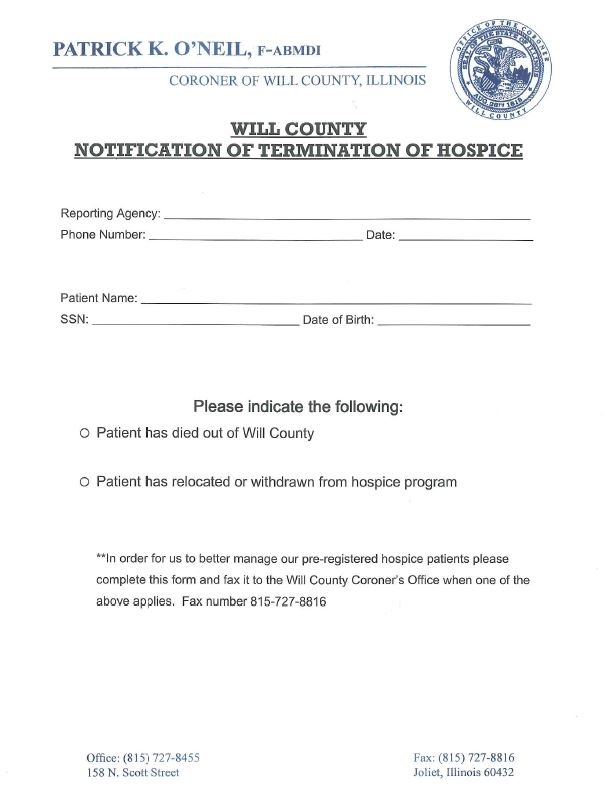 Notice of termination hospice